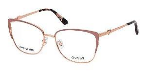 Óculos Armação Guess Gu2814 058 Metal Dourado Com Nude