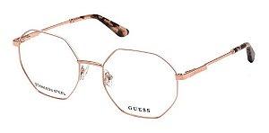 Óculos Armação Guess Gu2849 Dourado Com Branco Metal