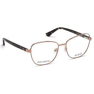 Óculos Armação Guess GU2815 057 Nude com Dourado Metal