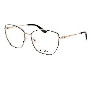 Óculos Armação Guess GU2825 001 Dourado com Preto Metal