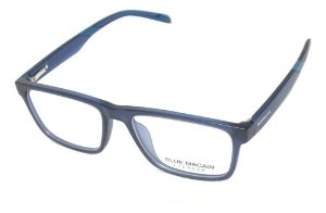 Óculos Armação Blue Macaw W-003 C3 Retangular Masculino Azul
