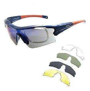 Óculos Solar Speedo Pro3 D01 Azul/laranja Ciclismo Espelhado