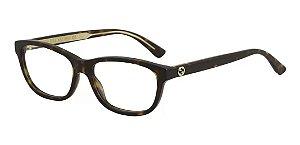 Óculos De Grau Gucci Gg0315o 002 Marrom Mesclado