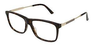 Óculos De Grau Gucci Gg0303o 002 Marrom Mesclado Dourado