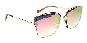 Óculos Sol Ana Hickmann Ah3176 01b Dourado  Espelhado Rosa