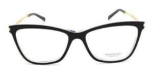 Óculos Armação Ana Hickmann Ah6254 A02 Preto  Feminino