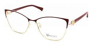 Óculos Armação Bulget Bg1658 07a Feminino Metal Bordo