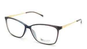 Óculos De Grau Bulget Bg4106 C01 Azul Cinza Fume Dourado