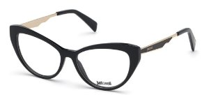 Armação Óculos Just Cavalli Preto Brilho Dourado Jc0881 001