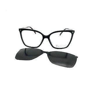 Óculos Armação Carmen Vitti CV0149 C1 Preto Clip on Feminino