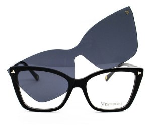 Óculos Armação Carmen Vitti Preto Lente Sol Escura Cv0187c1