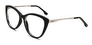Óculos Armação Colcci Valentina Preto Fosco Dourado  Gatinho
