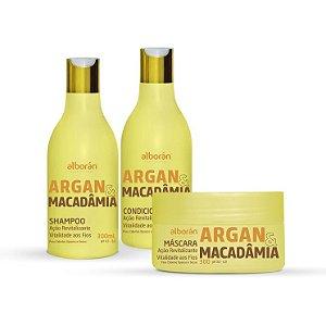 KIT ARGAN & MACÂDAMIA (Shampoo 300ml + Condicionador 300ml + Máscara 300gr)