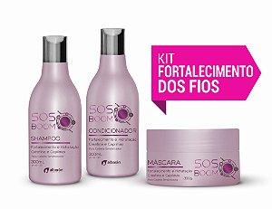 KIT DE FORTALECIMENTO DOS FIOS SOS BOOM (Shampoo 300ml + Condicionador 300ml + Máscara 300gr)