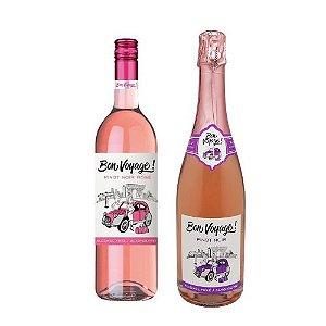 Kit Bon Voyage 1 Espumante + 1 Vinho Pinot Noir Sem Álcool - Garrafa 750 ml - França - 2 unidades
