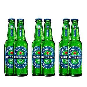 Combo de Cervejas Heineken 0.0 Puro Malte Sem Álcool - Long Neck 330 ml - Brasil (Holanda) - 6 unidades
