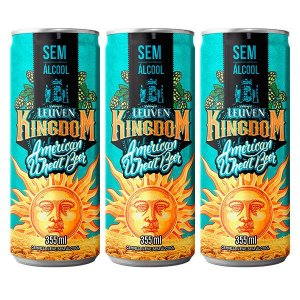 Combo de Cerveja Sem Álcool Artesanal Leuven Kingdom American Wheat Beer - 3 UN Lata 355 ml - Brasil