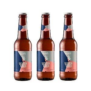 Combo de Cerveja Sem Álcool Artesanal Wäls Session Free IPA - 3 UN Long Neck 355 ml - Brasil