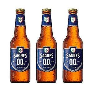 Combo de Cerveja Sem Álcool Sagres Puro Malte - 3 UN Long Neck 330 ml - Portugal