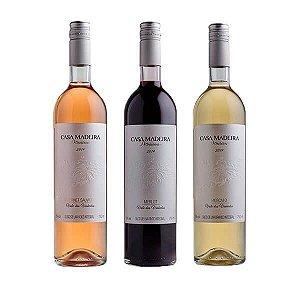 Kit de Sucos de Uva Premium - Casa Madeira Um de Cada - 1 Cabernet Sauvignon Rosé + 1 Moscato + 1 Merlot - 3 Unidades - Brasil