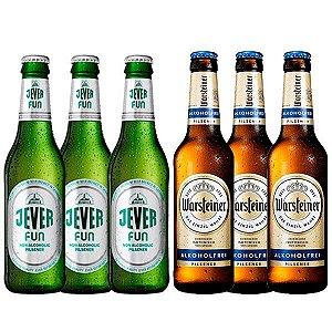 Kit de Cervejas Sem Álcool - Los Blandos - 3 Warsteiner Fresh + 3 Jever Fun - 6 Unidades - Alemanhã