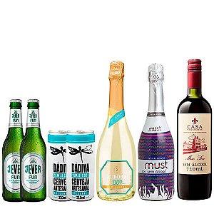 Kit Festa Família - 1 Espumante Aurora + 1 Espumante Must Branco + 1 Vinho Meio Seco + 2 Jever - 2 Dádiva - 7 Unidades