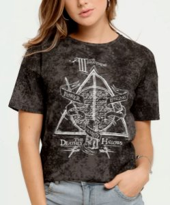 Blusa Feminina Estampa Harry Potter Manga Curta Warner Bross