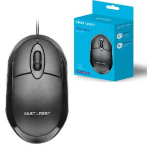 Mouse Multilaser Classic Box Óptico Full Black USB - MO300