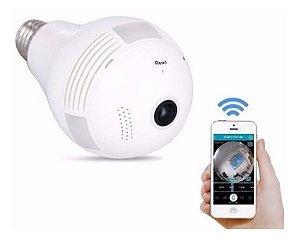 Lâmpada Espiã Câmera Ip Led Wifi HD Panorâmica 360º
