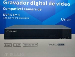 DVR full hd 4 canais 5.0mp c/ fonte e mouse itblue - com 4 câmaras