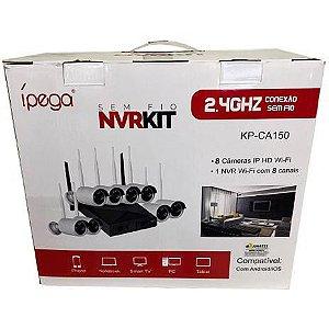 Kit Nvr IP Wifi Ípega KP-CA150 08 Canais com 08 Câmeras Externas IP HD Wifi