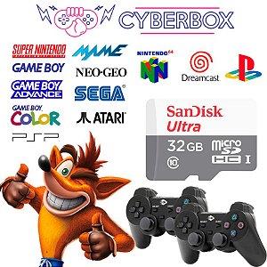 SISTEMA CYBER BOX VIDEO GAME RETRO MULTIJOGOS 32GB 2 CONTROLES S/ FIO