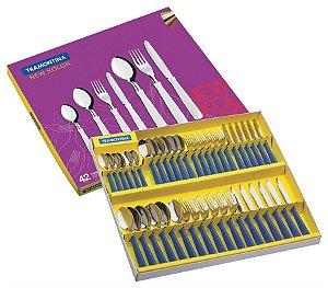Faqueiro 42 peças Azul Tramontina New Kolor  23199/163
