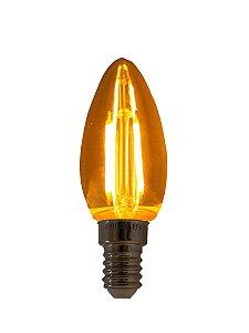 Lâmpada de Filamento LED Vela Chama 2W base 220V E14