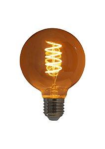 Lâmpada de Filamento LED G95 Spiral 4W 220V Dimerizável