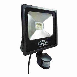 REFLETOR HOLOFOTE LED 30W SLIM C/ SENSOR - BRANCO FRIO - BIVOLT REF: 6035