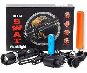 Lanterna Led Swat Cree Q5 Zoom + Suporte p/ Bike