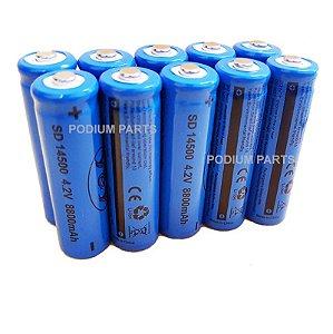 Kit 20 Bateria 14500 4,2v Recarregável para Mini Lanterna