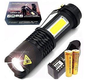 Mini Lanterna Led Cree Q5 Tática Recarregável Longo Alcance com Luz de emergência