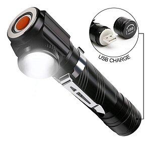 Mini Lanterna Tática Cotovelo Cabeça Bike Led T6 Zoom C/ Imã
