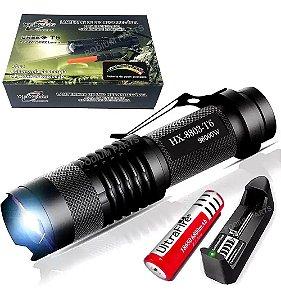Mini Lanterna Tática Led T6 Xml Police Recarregável