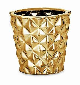 Cachepot Dourado Em Ceramica Unico (08642)