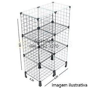 Balcão de Tela Tampo Vidro - 1,00m x 0,60 x 0,30m