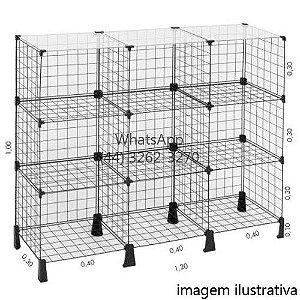 Balcão de Tela Tampo Vidro - 1,00m x 1,20 x 0,30m