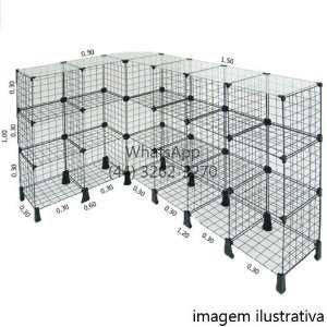 Balcão L de Tela com Tampo de Vidro - 1,50m x 1,00m x 0,90m