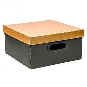 Caixa Organizadora Metalizada Dello 30 x 30 x 16 cm - Dourada