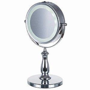 Espelho de Mesa Camarim Facial Banheiro Luz Led Aumento 5x Maquiagem