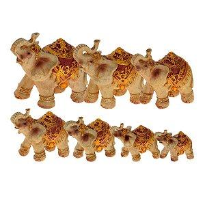 Cj. Escultura Ceramica 7 Elefantes Decorglass