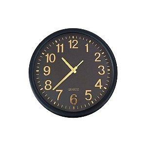 09399 - Relógio de Parede Preto e Dourado
