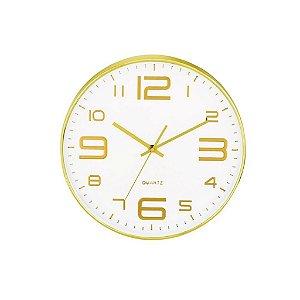 09401 - Relógio de Parede Branco e Dourado